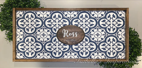 "Personalized Coastal Blue Morocann Tile -- 16""x36"" Wooden Sign"