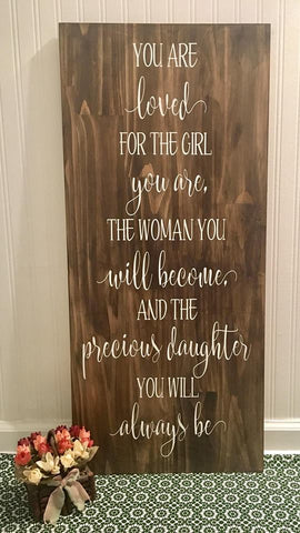 "Precious Daughter -- 16""x36"" Wooden Sign"