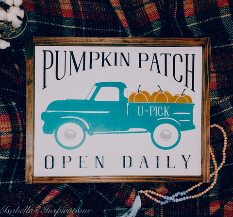 "Pumpkin Patch, Open Daily -- 16""x24"" Wooden Sign"