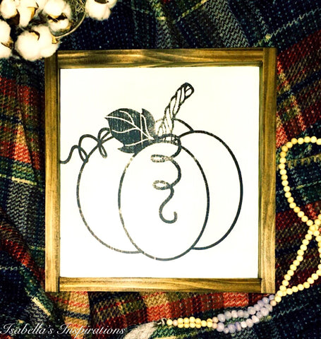 "Vintage Pumpkin -- 13""x13"" Wooden Sign"