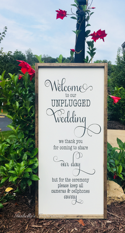 "Unplugged Wedding -- 16""x36"" Wooden Sign AVAILABLE FOR RENTAL"