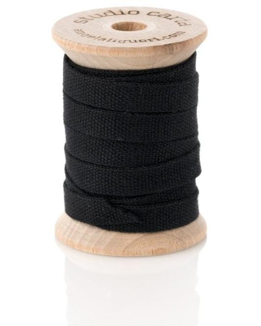 Cotton Ribbon Wooden Spool | Black