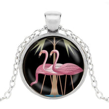 Load image into Gallery viewer, Pink flamingo pendant in silver finish