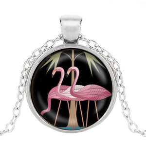 Pink flamingo pendant in silver finish
