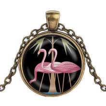 Load image into Gallery viewer, Pink flamingo bird pendant in bronze finish