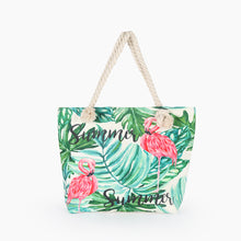Load image into Gallery viewer, Flamingo and green leaves tote bag