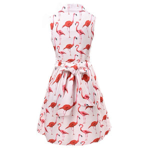 Flamingo summer dress with belt