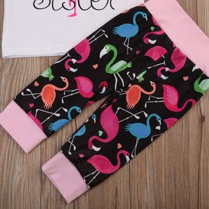 Colorful flamingo baby pants
