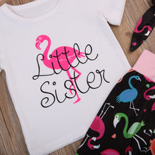 Load image into Gallery viewer, White t-shirt with pink flamingo print
