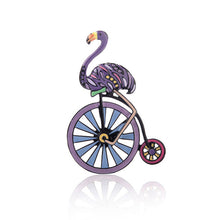 Load image into Gallery viewer, Purple flamingo and wheel brooch