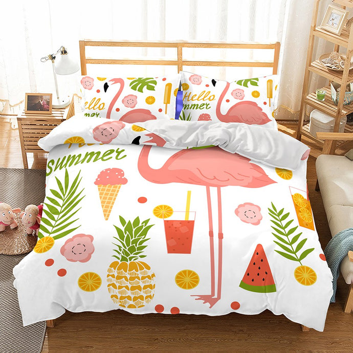 Flamingo and fruits bedding set