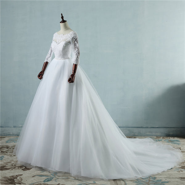 ZJ9091 2076 lace White Ivory Lace Wedding Dresses for bride gown ...