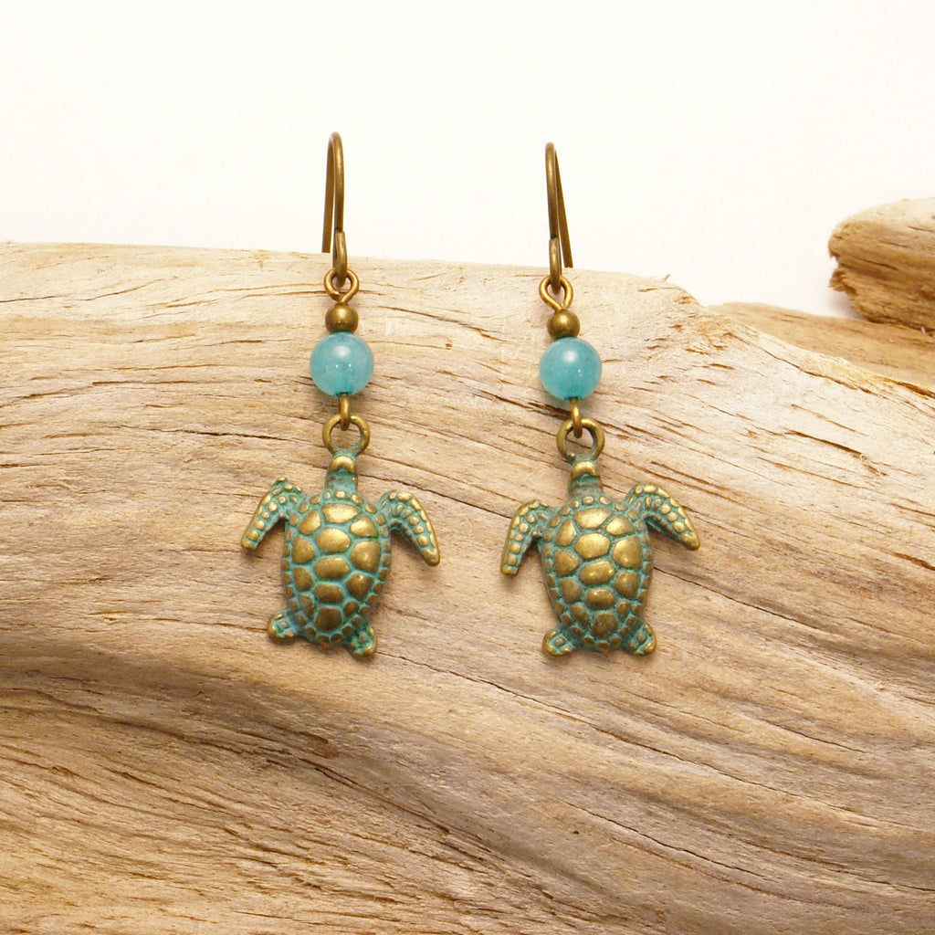 Brass Turtle Earrings Apparel  - Ruth From Duluth