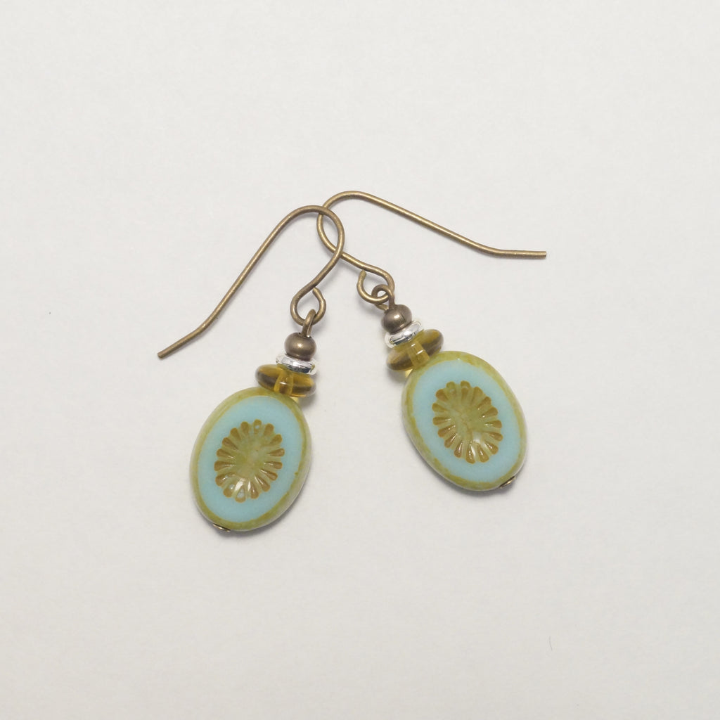 Brass Aqua Oval Earrings