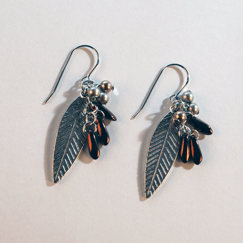 Silver Beaded Leaf Earrings