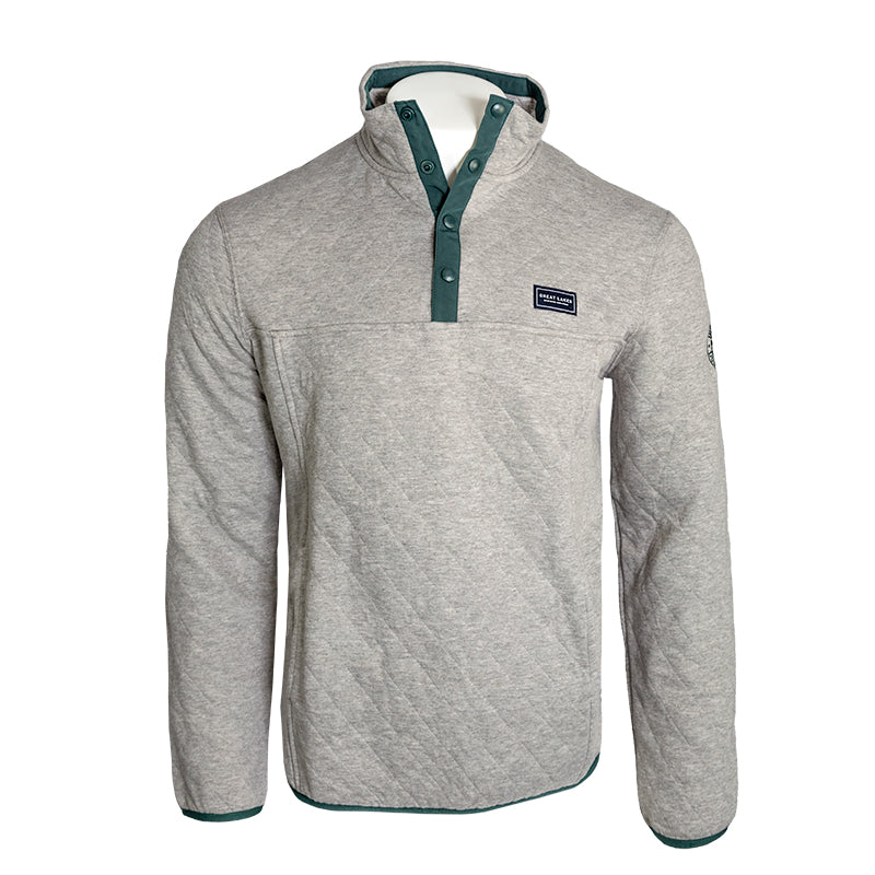 Great Lakes Quilted Quarter Snap Sweatshirt Gray / Small - Great Lakes