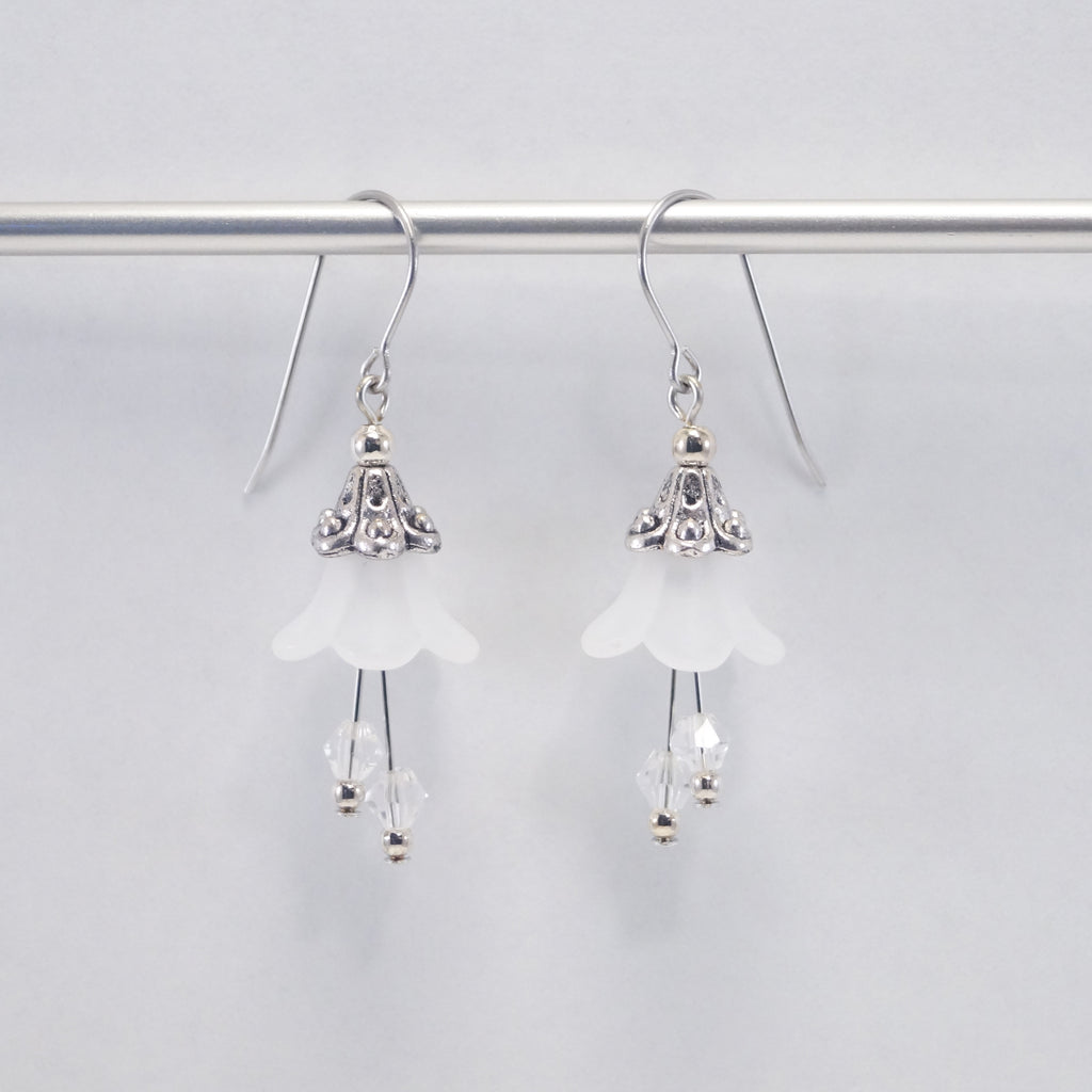White Flower Earrings Apparel  - Ruth From Duluth