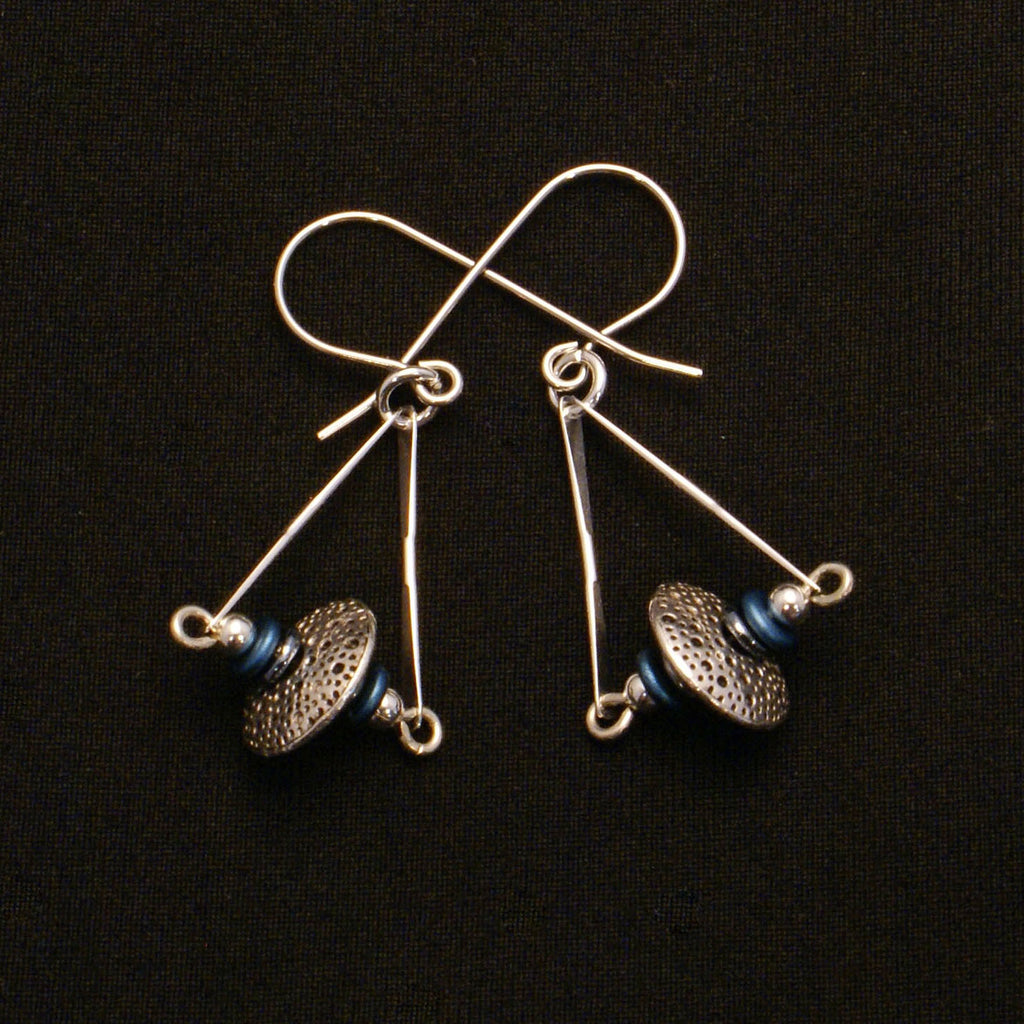 Silver Blue Triangle Earring