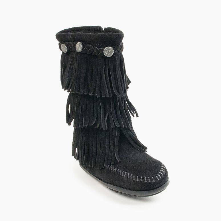 Children's 3-Layer Fringe Boot Kids Footwear  - Minnetonka Moccasin