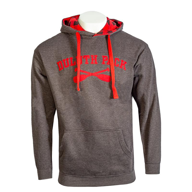 Cross Paddle Patterned Hood Sweatshirt Sweatshirt Black and Red / Small - Duluth Pack Apparel
