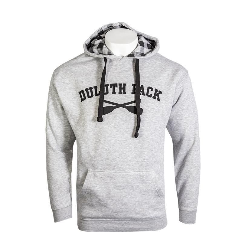 Cross Paddle Patterned Hood Sweatshirt Sweatshirt Black and Grey / Small - Duluth Pack Apparel