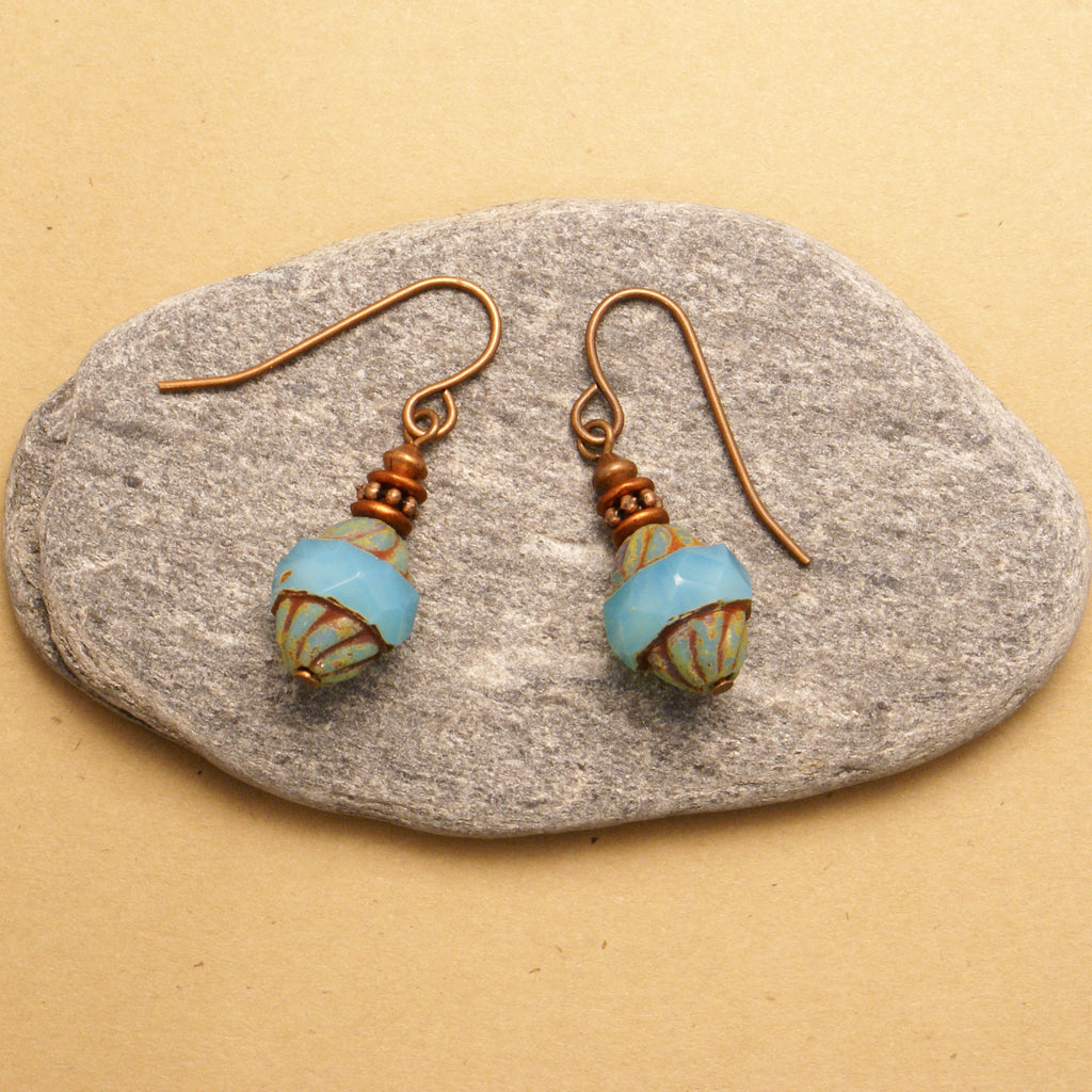 Blue Barrel Earrings Jewelry  - Ruth From Duluth