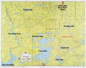 F-8: Lake Vermilion, Trout Lake, Vermilion River, Bootleg Lake Map  - Fisher Maps