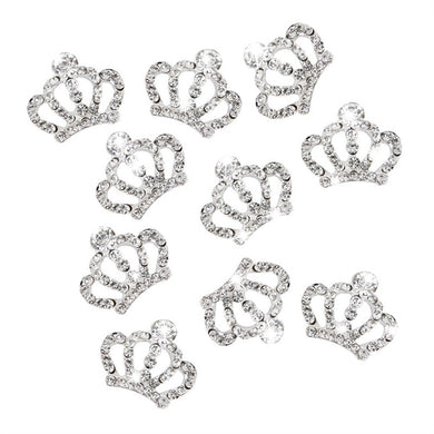 10pcs Crown Shape Rhinestone Embellishments for Crafts Cellphone Decoration