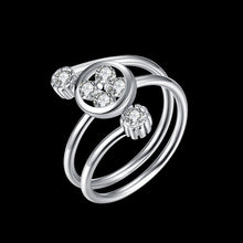 Load image into Gallery viewer, 925 Sterling Silver Ring Three stone opening ring hand jewelry wholesale website factory