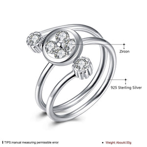 925 Sterling Silver Ring Three stone opening ring hand jewelry wholesale website factory