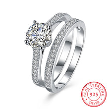 Load image into Gallery viewer, 925 Sterling Silver Ring Straight set double ring jewelry wholesalers(2pcs/set)