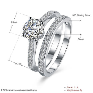 925 Sterling Silver Ring Straight set double ring jewelry wholesalers(2pcs/set)
