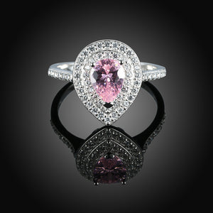 925 Sterling Silver Ring Water droplets inlaid pink diamond ring jewelry wholesalers