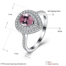 Load image into Gallery viewer, 925 Sterling Silver Ring Water droplets inlaid pink diamond ring jewelry wholesalers