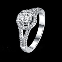 Load image into Gallery viewer, 925 Sterling Silver Ring a wholesaler of double-wire round stone-inlaid rings