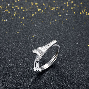 925 Sterling Silver Ring Paris Tower Open Ring Jewelry Wholesale website Factory Direct