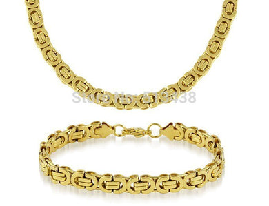1 set Men's Cool Stainless Steel jewelry set necklace & bracelet Byzantine chain Gold