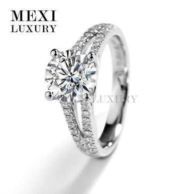 1.5 Ct Color Moissanites Ring Solitaire 18K White Gold Moissanites Engagement Wedding Ring Fine Jewelry Women