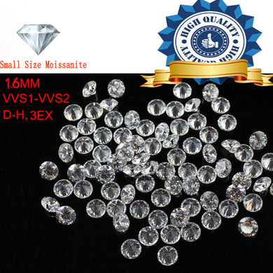 10pcs/Lot Small Size 1.6mm White color Moissanite Round Brilliant Loose Moissanites Stone for Jewelry making
