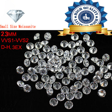10pcs/Lot Small Size 2.3mm White color Moissanite Round Brilliant Loose Moissanites Stone for Jewelry making
