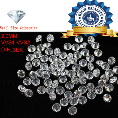 10pcs/Lot Small Size 2.0mm White color Moissanite Round Brilliant Loose Moissanites Stone for Jewelry making