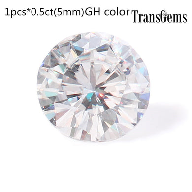 TransGems 5mm 0.5ct Carat GH Color Round Brilliant Cut Lab Grown Moissanite Loose Stone Test Positive