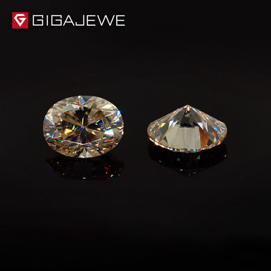 GIGAJEWE Moissanite Oval Cut Yellow Color Beads DIY Gem Stone Hardness Stone For Girl Friend Gift Classic Fashion Jewelry