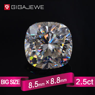 GIGAJEWE Excellent Quality Big Size Cut White IJ Color 2.5ct Cushion Moissanite Loose Stone Synthetic Beads For Jewelry Making