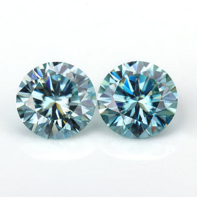 pretty blue jewelry gems round cut 4mm-8mm loose stones moissanites