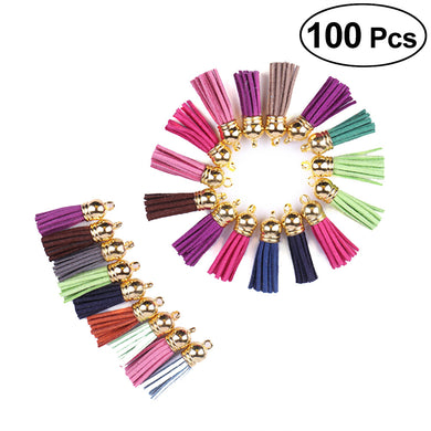 100pcs 4cm Suede Tassel Straps Jewelry Charms Bag Pendant Leather Tassels DIY Accessories for Keychain Cellphone