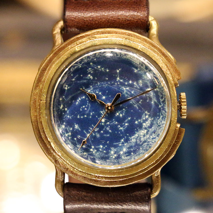 GENSO | Planisphere Starry Sky Watch (Phosphorescent Face) | 天体観測 星空手表 夜光錶盤