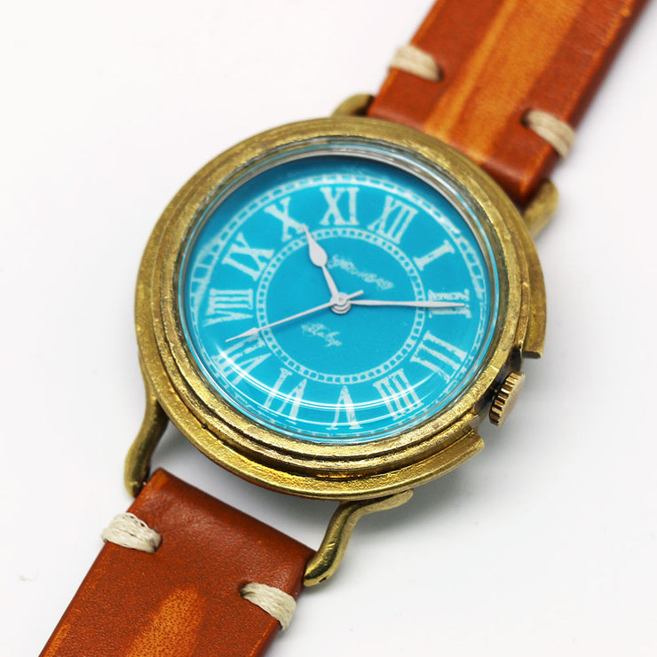 GENSO | Cobalt Turquoise Roman Numeral Dial Watch Light Blue & White | Original Handmade Watches from Japan