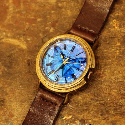 The Real Morpho Butterfly Wing Watch Size L (Brass) | 匠人手工製作 穆爾佛蝶 個性手錶