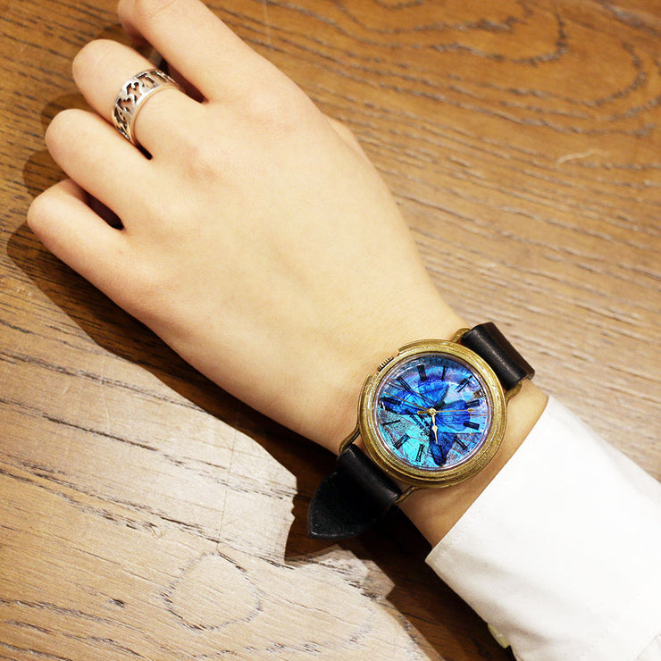 The Real Morpho Butterfly Wing Watch Size L (Brass) | Original Handmade Watches from Tokyo 匠人手工製作 穆爾佛蝶 個性手錶